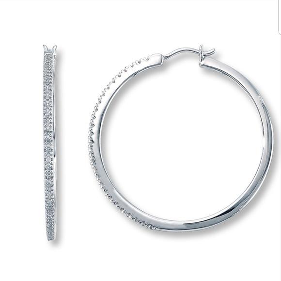 kay jewelers jewelry diamond hoop earrings 14 ct round sterling